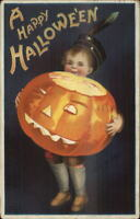 Halloween - Boy Holding Giant Lit-Up JOL c1910 Clapsaddle Postcard