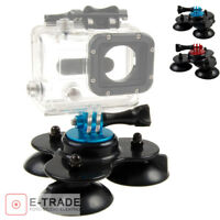 Triple Suction Cup Mount FOR GoPro HD Hero 1 2 3 3+ 4 Session Camera / 3 cups