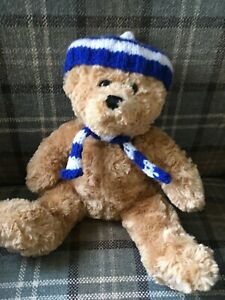 "Hand knitted teddy clothes- blue/white bobble hat and scarf for 8"" teddy bear"