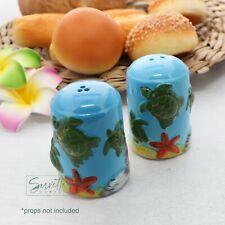 Blue Salt & Pepper Shakers Set Cute Green Turtles Swimming Novelty Salt Shakers