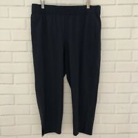 T by Talbots Womens Capri Activewear Pants Large Petite Navy Blue Stretch