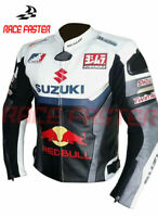 NEW SUZUKI MOTORBIKE MOTORCYCLE RACING BIKER LEATHER JACKET XS-6XL CUSTOM MADE