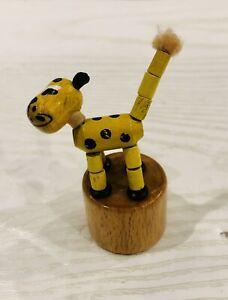 "3"" Finger Puppet Wooden Giraffe Push Up Toys Press Base w/ Thumb"