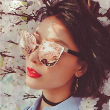 Rose Gold Oversized Large Retro Cat Eye Women Ladies Sunglasses UV400 Mirrored
