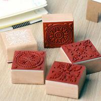 6 verschiedene Holzstempel Gummidichtung quadratische Handschrift DIY HandZJP