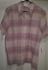 Alfred Dunner NWT Woman's Plus Blue/Brown/Pink Striped Button Down Shirt Size 18