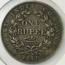 1840 VF+ ONE RUPEE VICTORIA BRITISH EAST INDIA COMPANY FREE SHIPPING