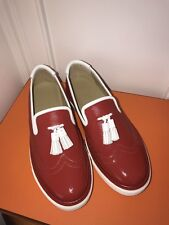 100% AUTH. Brand NEW HERMES Red Must SNEAKER WOMENS 37.5 FLAT LOAFER