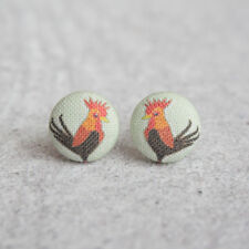 Rooster Fabric Button Earrings