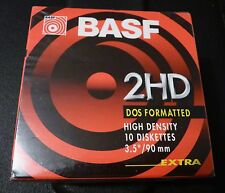 """BASF 3.5"""" Disks 2HD DOS Formatted Box of 10 Floppy SEALED"""