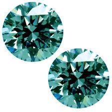 White Round Moissanite Diamond 4 Earring/Ring 4.40 ct 2pc Vvs1/8.40mm Vivid Blue