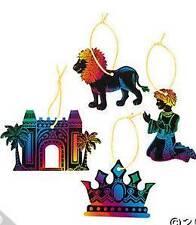 4 Babylon Scratch Art Ornaments Palace Lion Crown Child