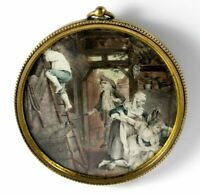 """RARE Antique Portrait Miniature, French Painting, """"Lost Virtue"""", c1800 """"Naughty"""""""