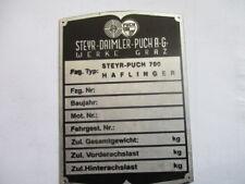 Typenschild  Schild Steyr Puch haflinger  700   S45