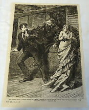 1883 magazine engraving ~ MAN HURLS HIMSELF AT OTHER MAN WHILE WOMAN SCREAMS
