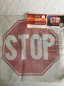Vintage 1970s STOP and GO Bucilla latch hook pair of canvases