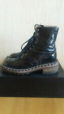 Chanel Runway Chain Link CC Combat Boots Patent Leather Size 36,5