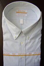 Roundtree Yorke Dress Shirt * White Green Mini Check Pattern * 18 - 36/37 Tall