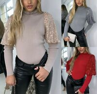 Womens Ladies Fine Ribbed Sequin Puff Sleeve High Frill Neck Jumper Sweater Top