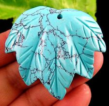 Beautiful Turquoise carved leaf Pendant bead BA3126