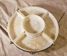 Vintage Abstract Gold Squiggle Milk Glass Lazy Susan Serving Trays Metal Stand