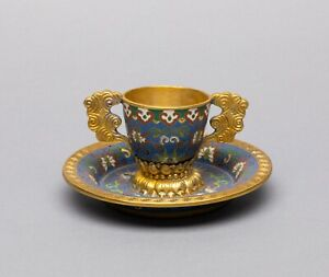 Chinese Antique Cloisonné Cup and Saucer, Republic ?
