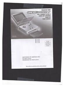 Nintendo Gameboy Advance SP Registration Card WORN INSERT ONLY Authentic