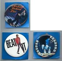 MICHAEL JACKSON 3 LARGE 2 INCH PINBACK BUTTONS PINS BADGES 1980's