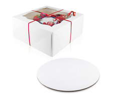 15 Sets 10 x 10 x 5 inches Cake Bakery Boxes with Window and 10 inches Round Cak