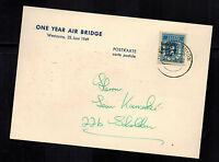 1949 Berlin Germany one Year Air Bridge Airlift Postcard Cover Soviet Zone 7