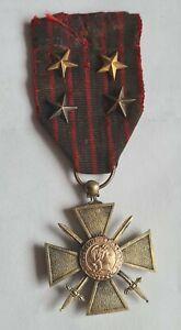 MEDAILLE MILITAIRE CROIX DE GUERRE 1914-1916 avec 4 étoiles