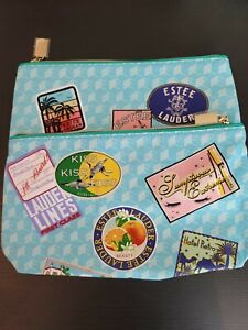 2 Estee Lauder Blue Printed Cosmetic Makeup Bag with Luggage Tag