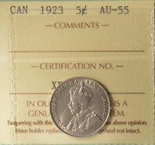 1923 Canada  5 Cent - ICCS AU-55  -  Serial # XPT 413