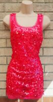 NEW LOOK PINK FUCHSIA MESH SEQUIN BEADED PARTY SLEEVELESS BLOUSE TOP VEST 12 M