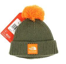 The North Face 242032 Baby Boys Logo Pom-Pom Beanie Hat Green/Orange Size XXS