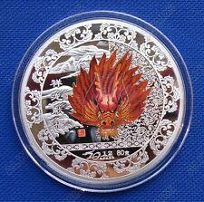 Rare Chinese Lunar Zodiac Dragon Head Colored Silver Coin Souvenir Token 60mm