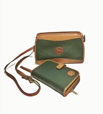 Dooney & Bourke Green And Tan Vintage Crossbody Handbag Purse Planner Wallet