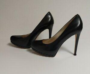 "MICHAEL KORS Ailee Black Suede Black Studded Platform Pumps 5"" Heel 7.5M"