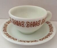 Pyrex Corning COPPER FILIGREE 701 Coffee Cup+Saucer RESTAURANT WARE Brown/White