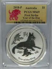 PCGS MS69 First Strike 2018-P Australia YEAR OF THE DOG Lunar $1 Coin Silver 1oz