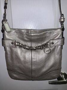 Coach Silver Leather Chain Duffle Convertible Crossbody Shoulder Bag No. F19722