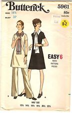 Vtg 1970s Butterick Sewing Pattern Women's A-LINE DRESS PANTS 5961 Sz 14½ UNCUT