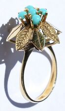 18ct Yellow Gold & Turquoise Ring in a Leaf setting