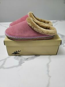 Deer Stags Womens Slippers Sz.8M Toasty Suede Pink