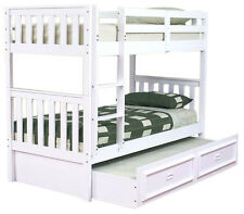 JESTER KING SINGLE TIMBER BUNK BED & DELUXE TRUNDLE IN WHITE