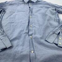 Banana Republic Men's Long Sleeve Shirt Cotton Linen Blue Stripe Size XL 17-17.5