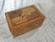 VINTAGE ANTIQUE JAPANESE WOODEN SECRET PUZZLE BOX with TERRIERS plays tune