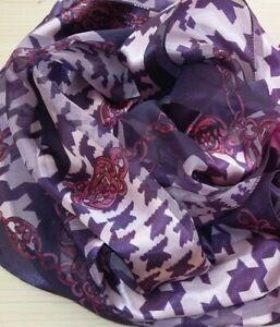 BNWT Light Weight Purple  Chain/Dog Tooth Design Satin/Chiffon Scarf155cm x 35cm