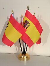 SPAIN TABLE FLAG SET OF 4 FLAGS WITH BASE SPANISH ESPANA