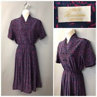 Eastex Heirloom Collection Blue Pleated Retro Dress UK 10 EUR 36 Made in Britain